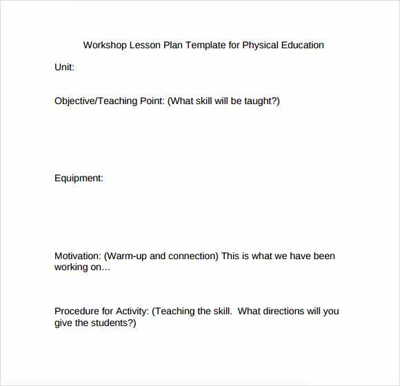 Phys Ed Lesson Plan Template Fresh 8 Physical Education Lesson Plan Templates for Free