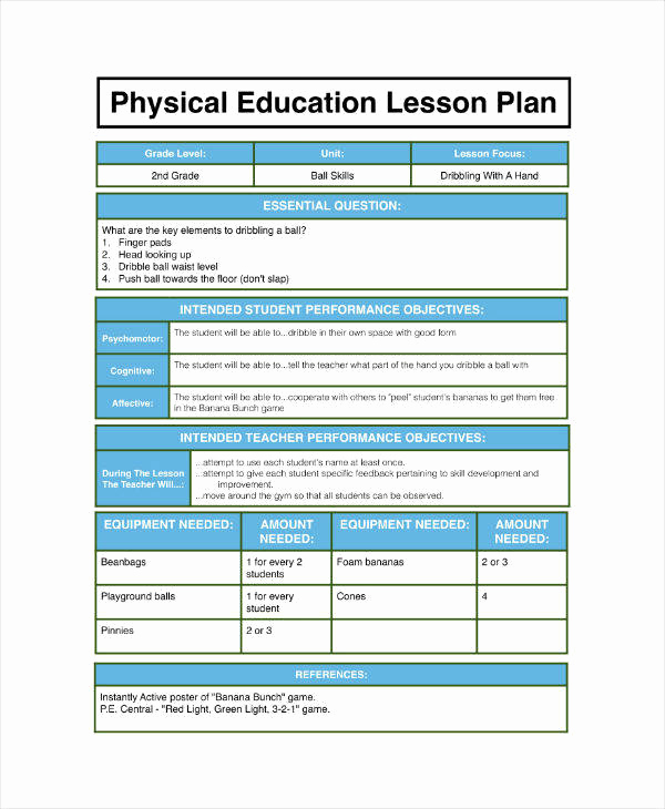 Phys Ed Lesson Plan Template Inspirational 7 Physical Education Lesson Plan Templates Pdf Word