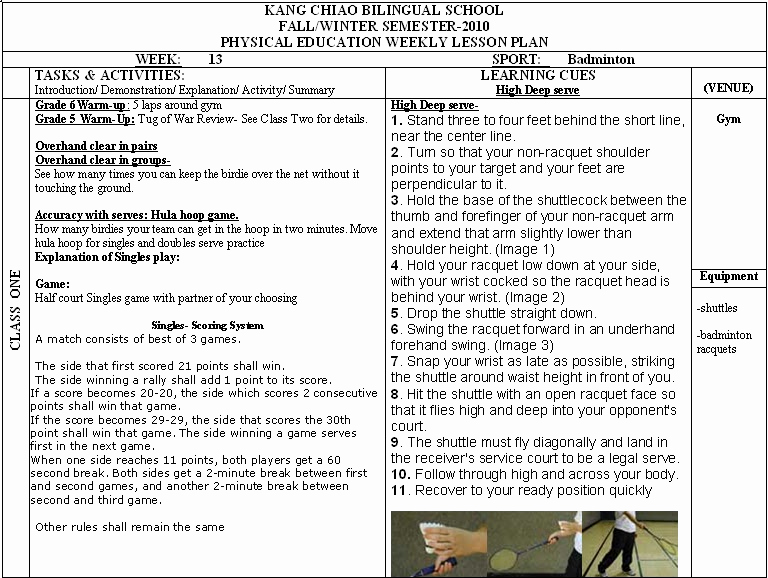 Phys Ed Lesson Plan Template Inspirational Physical Education Department Pe Weekly Lesson Plans