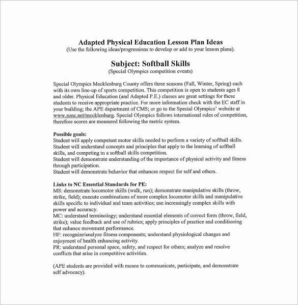Phys Ed Lesson Plan Template Inspirational Physical Education Lesson Plan Template 8 Free Sample