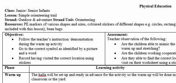 Physical Education Lesson Plan Templates Awesome Infant Physical Education Pe orienteering Lesson Plan