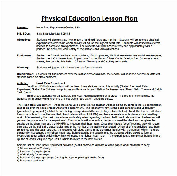 Physical Education Lesson Plan Templates Best Of Physical Education Lesson Plan Template 7 Free Pdf