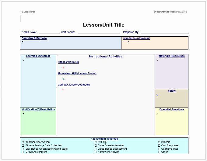 "Physical Education Lesson Plan Templates Luxury Pete Charrette On Twitter ""free Lesson Plan Template for"