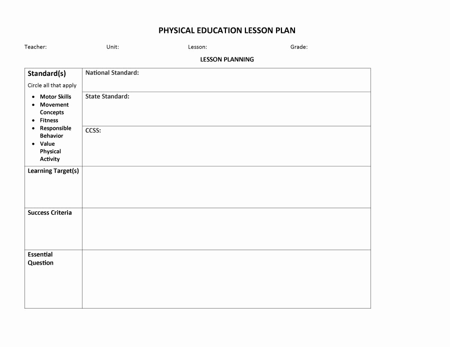Physical Education Lesson Plan Templates Unique 44 Free Lesson Plan Templates [ Mon Core Preschool Weekly]