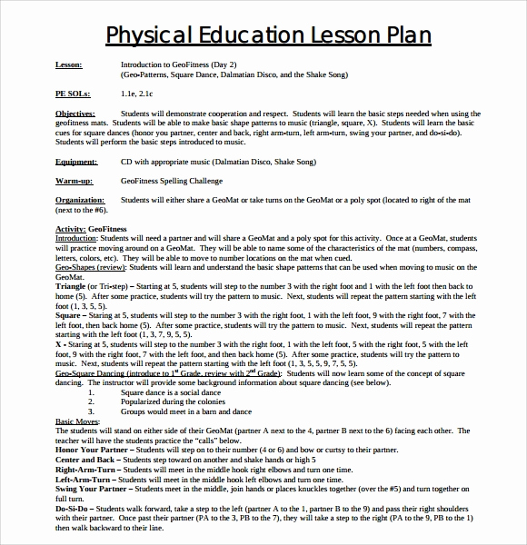 Physical Education Lesson Plan Templates Unique 8 Physical Education Lesson Plan Templates for Free