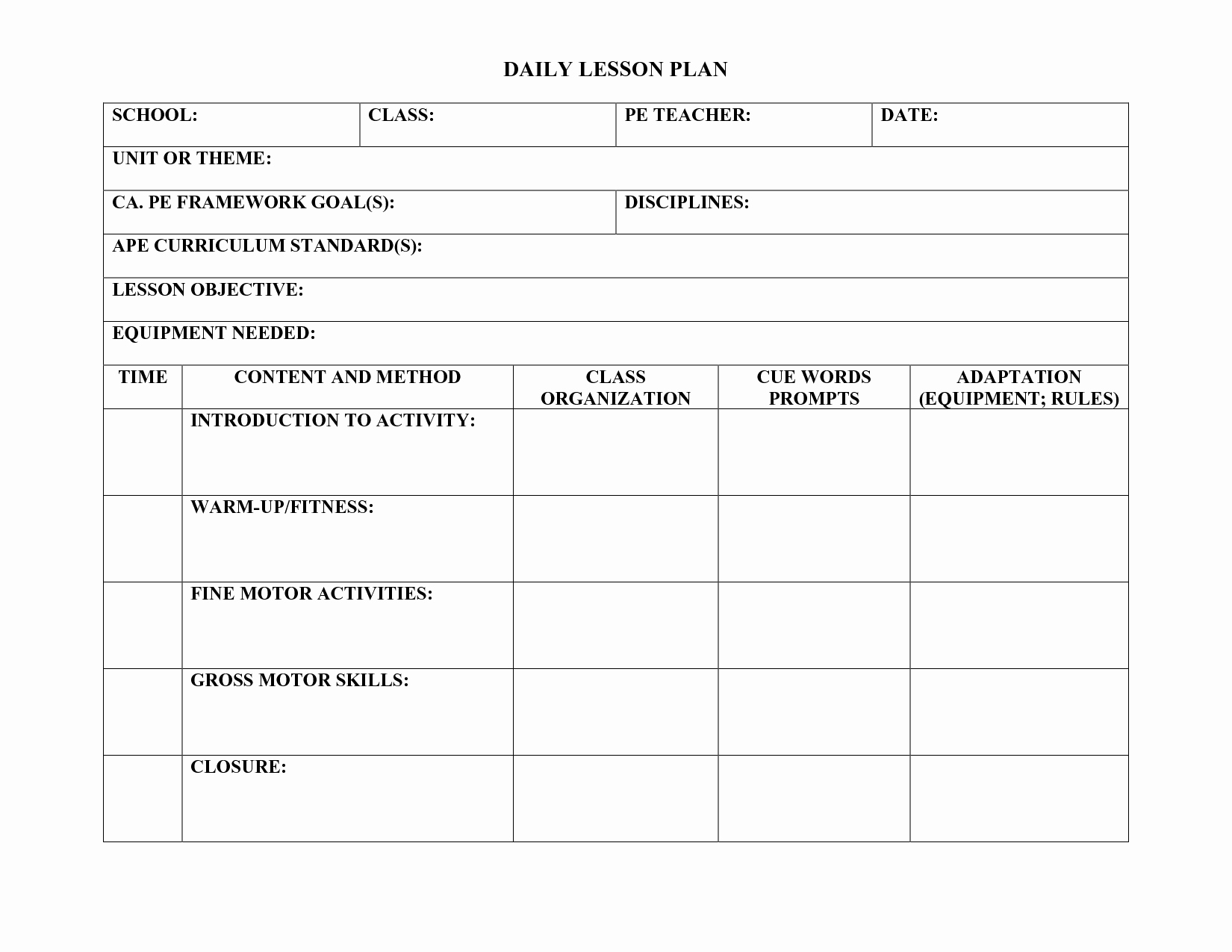 Physical Education Lesson Plans Template Awesome Pe Lesson Plan Template Teachers Pinterest