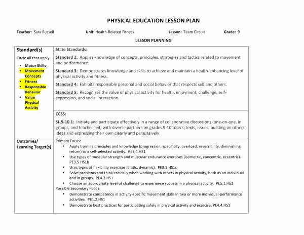 Physical Education Lesson Plans Template Elegant 10 Physical Education Lesson Plan Samples Pdf Word