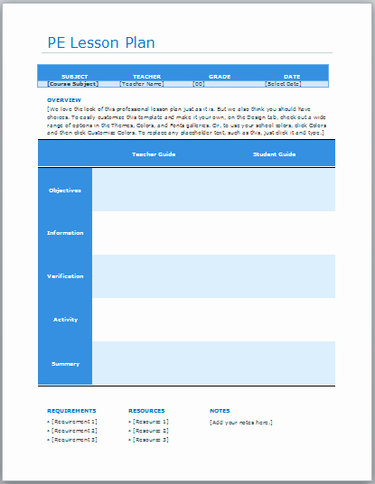 Physical Education Lesson Plans Template Fresh Pe Lesson Plan Template