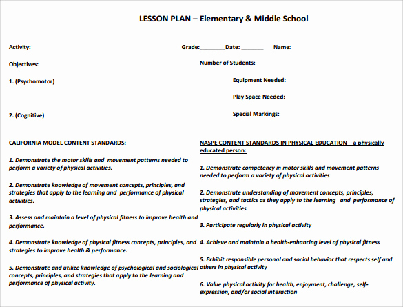 Physical Education Lesson Plans Template New Sample Physical Education Lesson Plan 14 Examples In