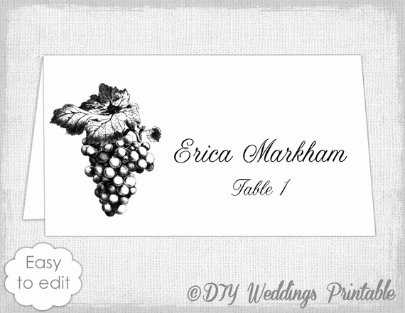 Placement Card Template Word Elegant Place Card Template Grapes Name Card Templates