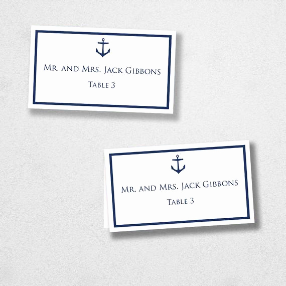 Placement Card Template Word Fresh Avery Place Card Template Anchor Instant Download Escort