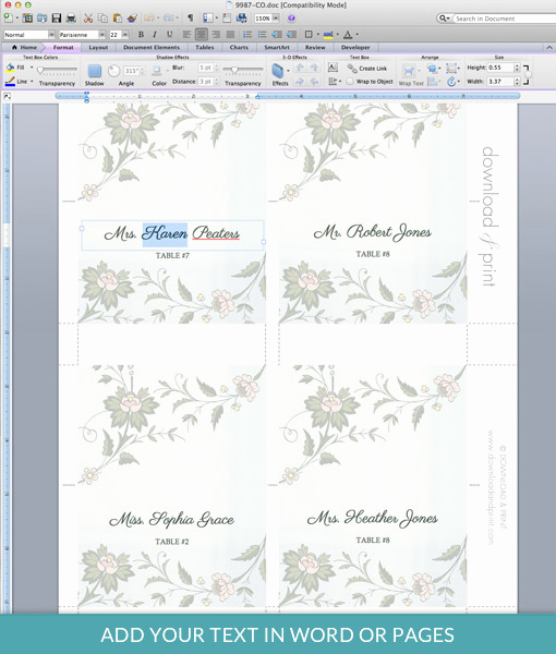 Placement Card Template Word New Watercolor Flowers Place Card Template – Download & Print