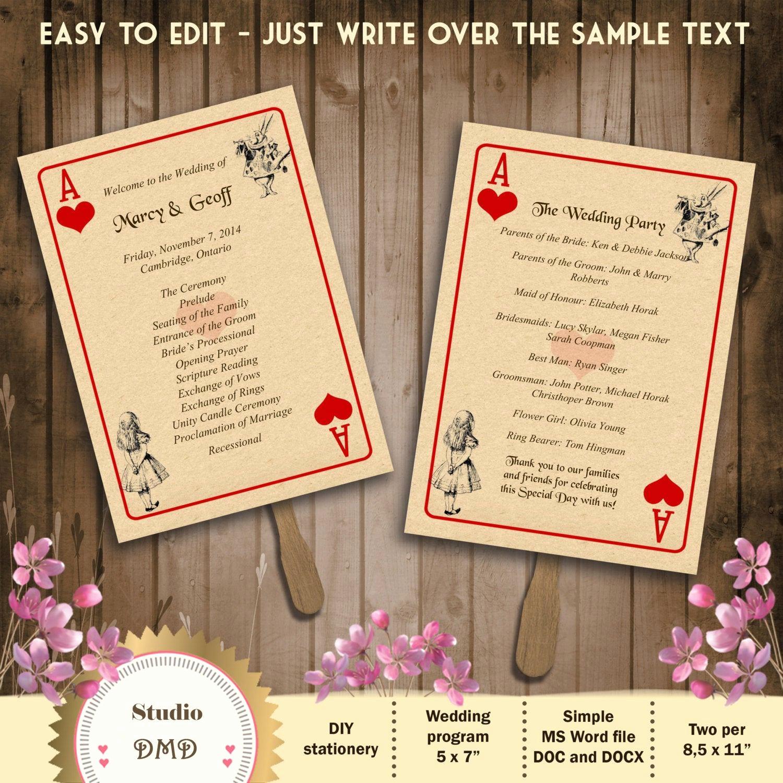 Playing Card Template Word Luxury Printable Wedding Program Template – Alice In Wonderland