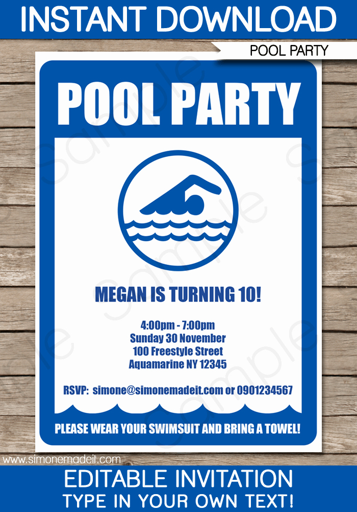 Pool Party Invites Templates Awesome Pool Party Invitations Birthday Party