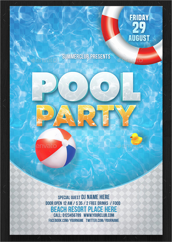 Pool Party Invites Templates Beautiful 33 Printable Pool Party Invitations Psd Ai Eps Word