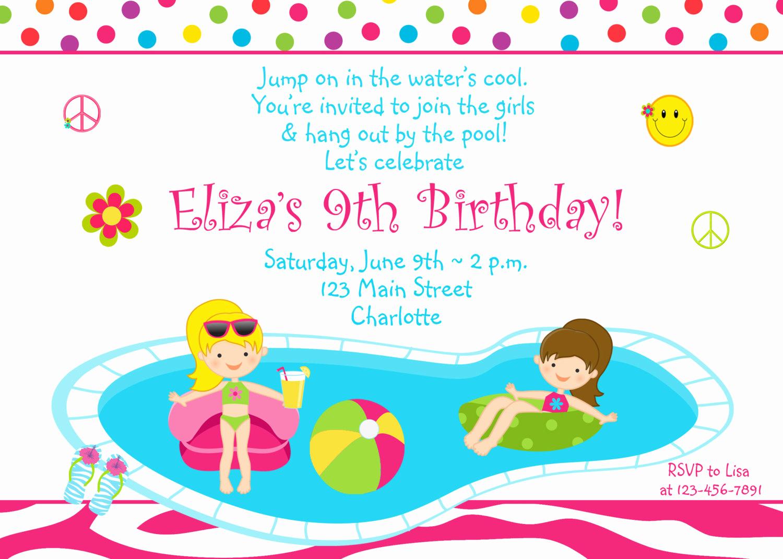 Pool Party Invites Templates Elegant Pool Party Birthday Invitation Girls Pool Party Zebra