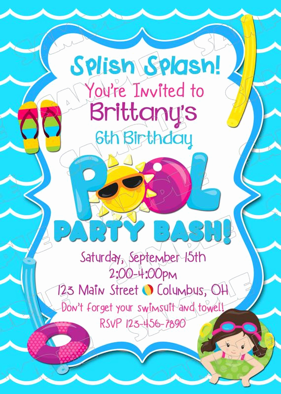Pool Party Invites Templates Elegant Pool Party Invitation Swim Party Swimming Birthday Party