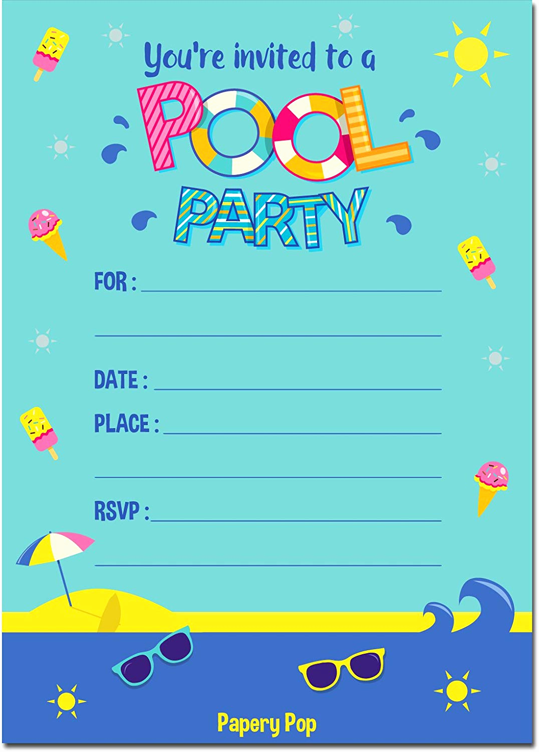 Pool Party Invites Templates Elegant Pool Party Invitations with Envelopes 15 Count Kids
