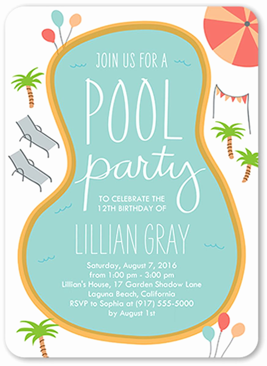 Pool Party Invites Templates Fresh 18 Birthday Invitations for Kids – Free Sample Templates
