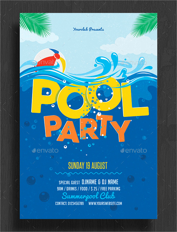 Pool Party Invites Templates Fresh 33 Printable Pool Party Invitations Psd Ai Eps Word
