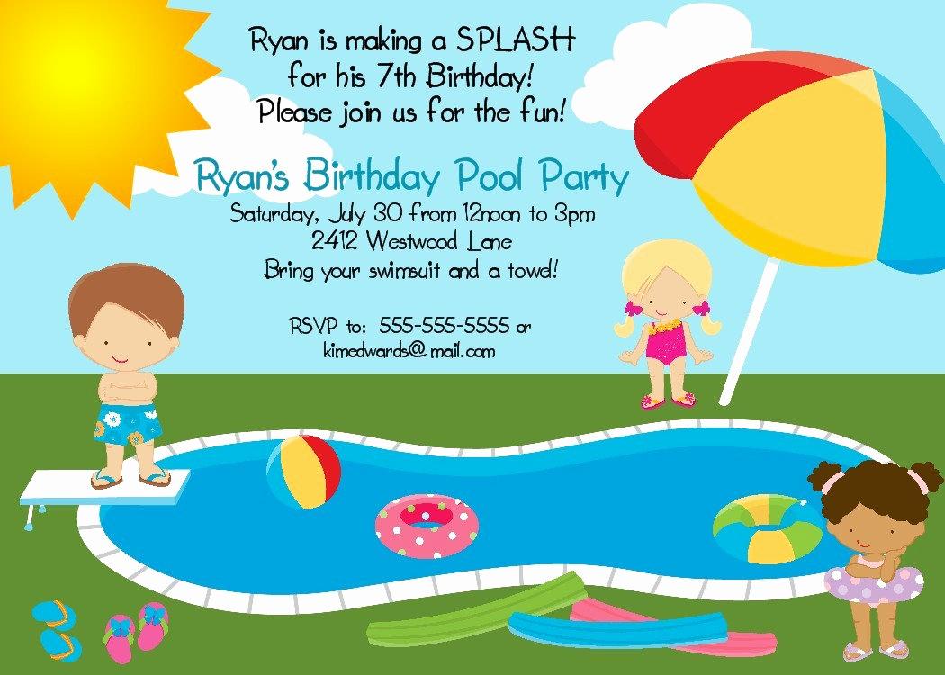 Pool Party Invites Templates Fresh Pool Party Birthday Party Invitation Printable Digital File
