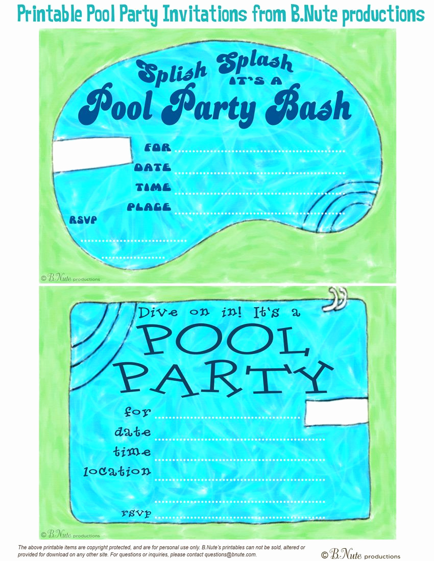 Pool Party Invites Templates Inspirational Free Printable Pool Party Invitations