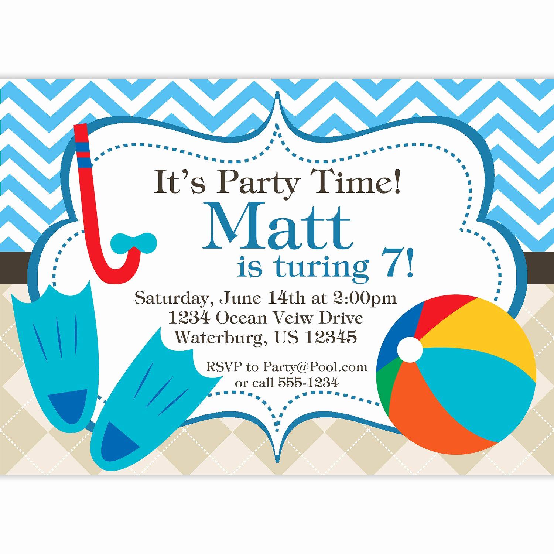 Pool Party Invites Templates Inspirational Pool Party Invitation Blue Chevron and Tan Argyle Beach