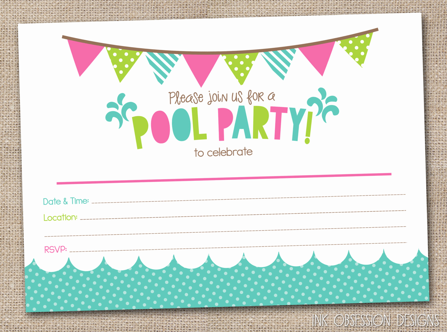 Pool Party Invites Templates New 45 Pool Party Invitations