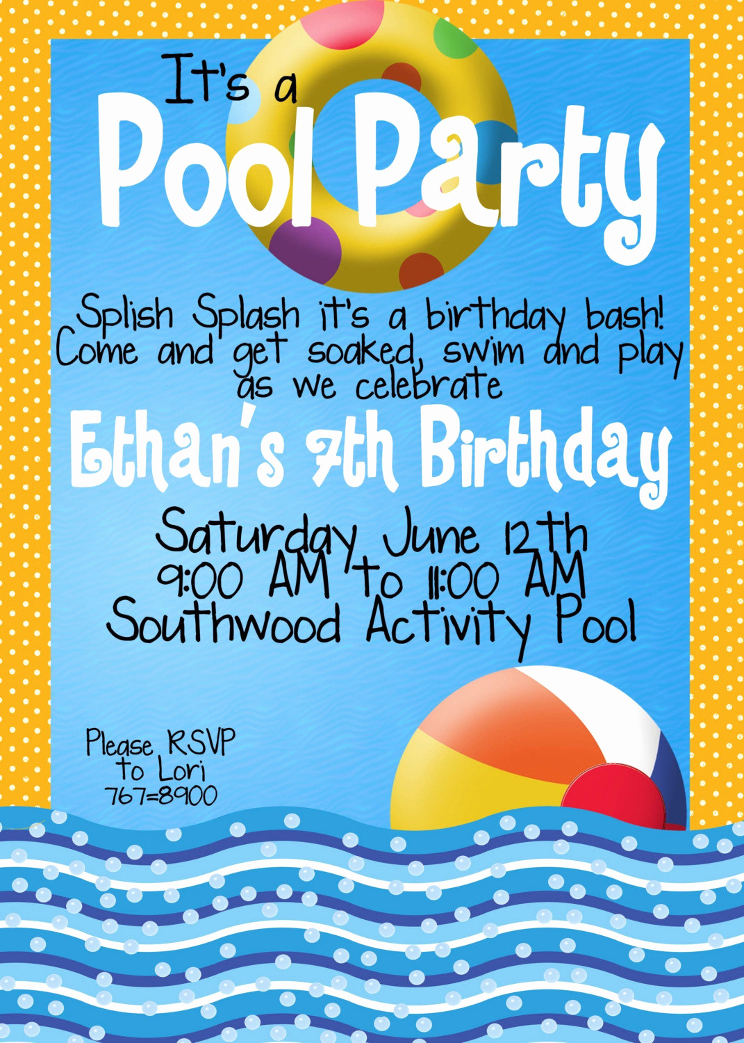 Pool Party Invites Templates New Pool Party Invitations by Magicbymarcy On Etsy