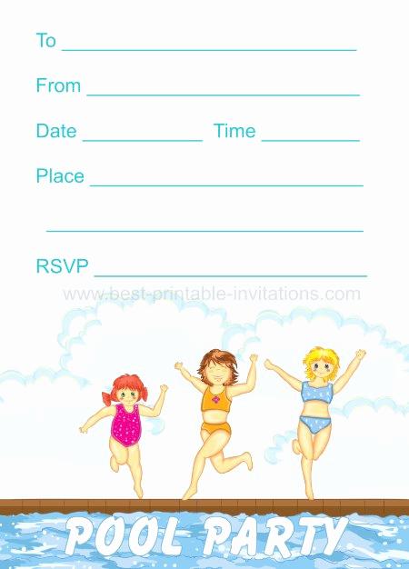 Pool Party Invites Templates Unique 45 Pool Party Invitations