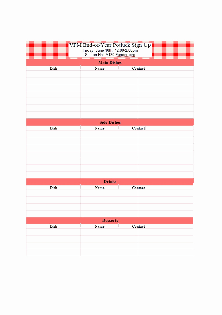 Pot Luck Sign Up Sheet Beautiful 38 Best Potluck Sign Up Sheets for Any Occasion