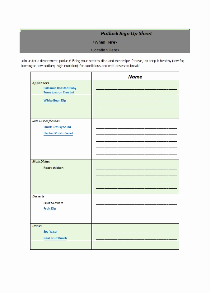 Pot Luck Sign Up Sheet Best Of 38 Best Potluck Sign Up Sheets for Any Occasion