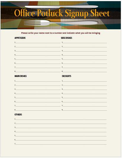 Pot Luck Sign Up Sheet Best Of Thanksgiving Potluck Ideas List