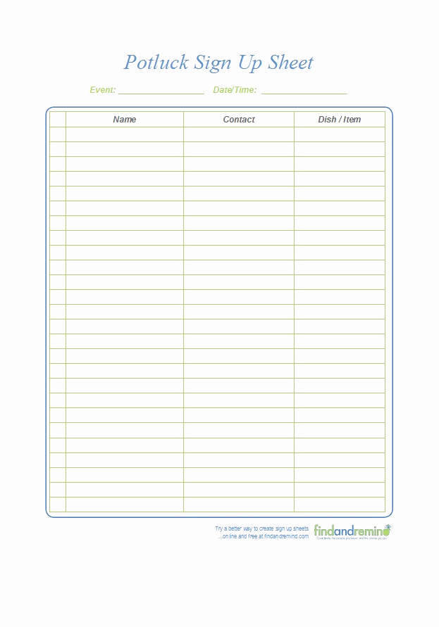 Pot Luck Sign Up Sheet Inspirational 38 Best Potluck Sign Up Sheets for Any Occasion