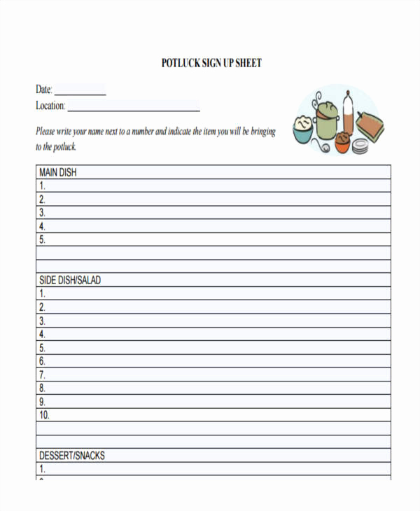 Pot Luck Sign Up Sheet Unique 10 Sign Up Sheet Samples & Templates