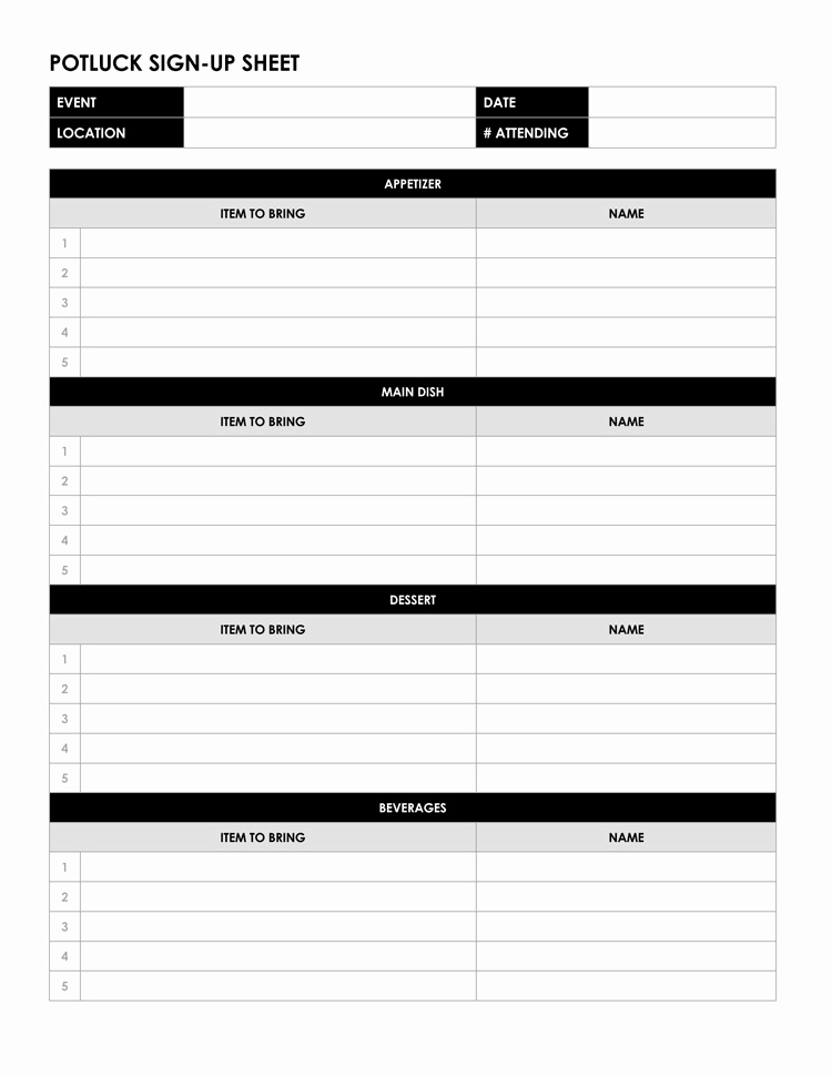 Potluck Sign Up Sheet Template Awesome 26 Free Sign Up Sheet Templates Excel & Word
