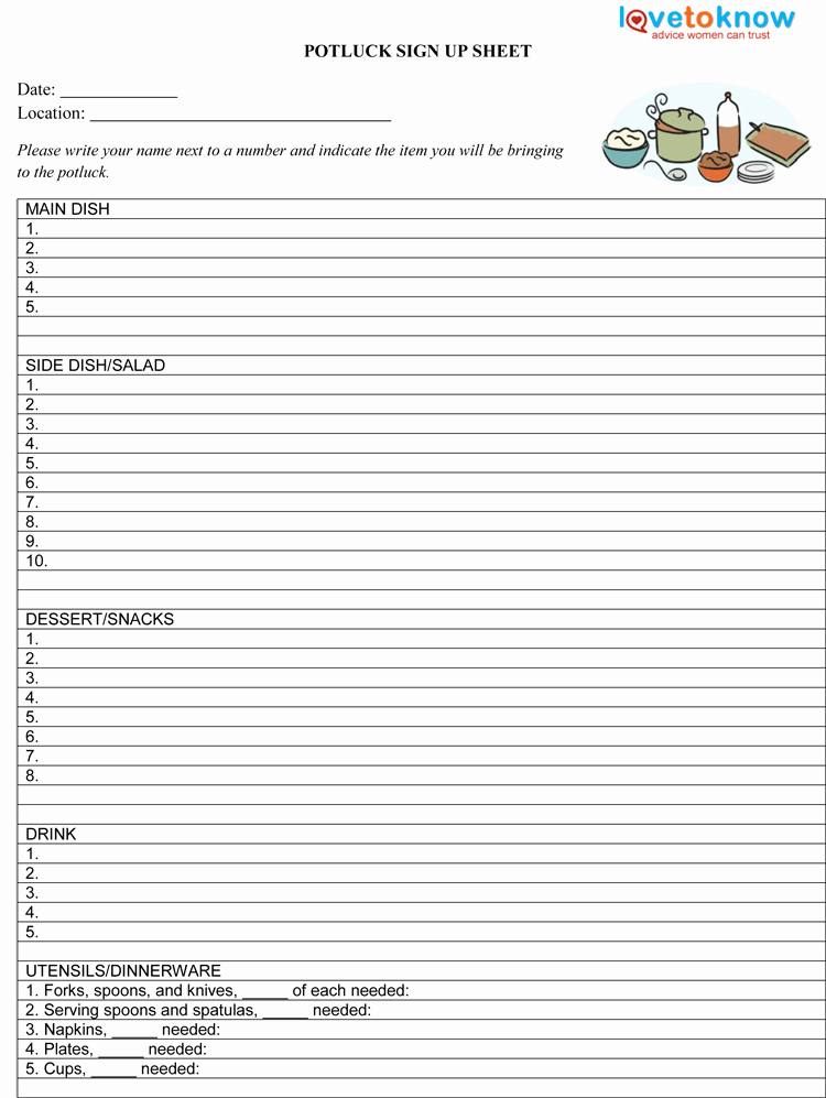 Potluck Sign Up Sheet Template New 26 Free Sign Up Sheet Templates Excel & Word