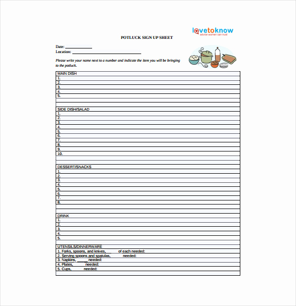 Potluck Sign Up Sheet Template Unique 19 Sign Up Sheet Templates – Free Sample Example format