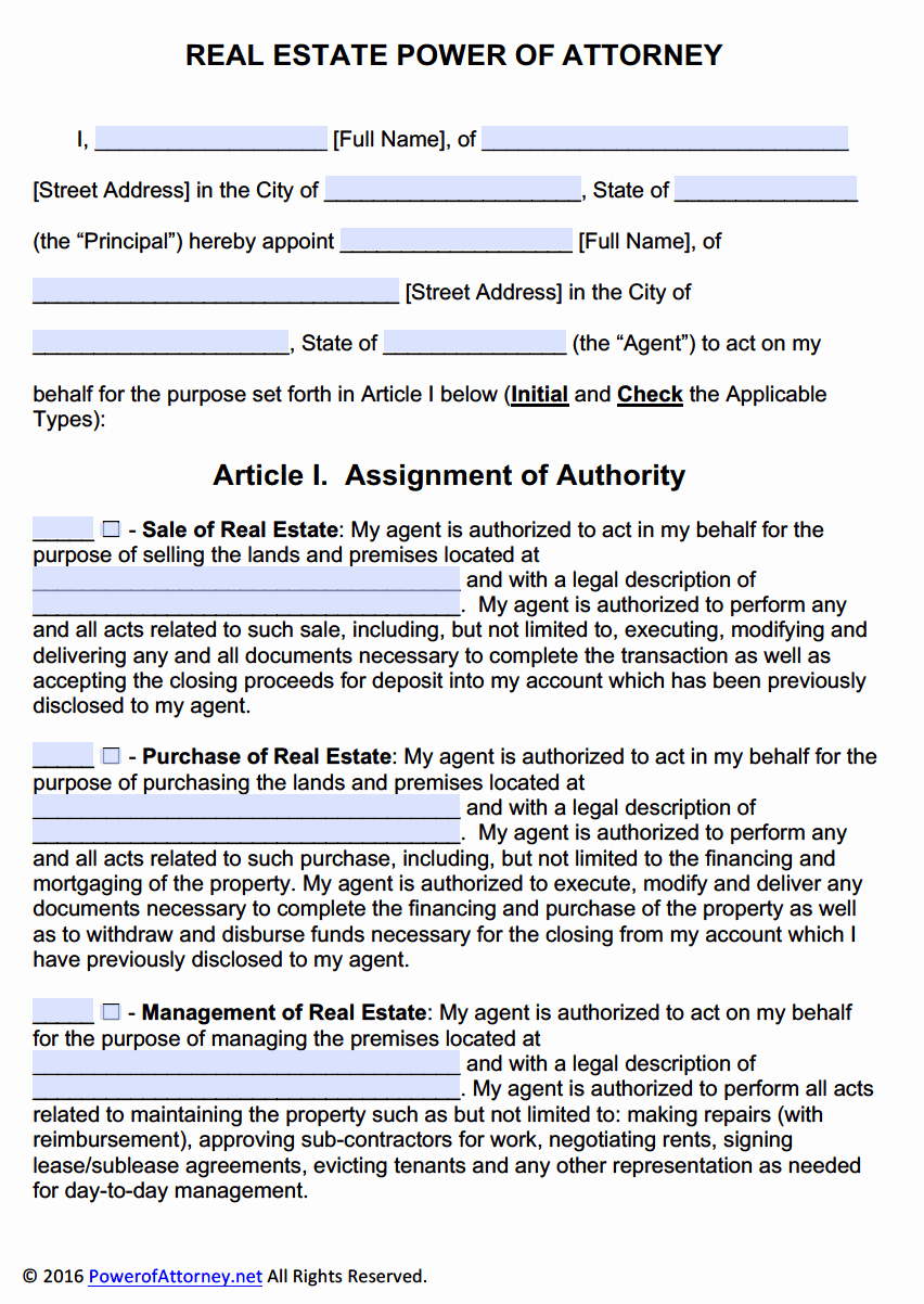 Power Of attorney Example Awesome Real Estate Power Of attorney form