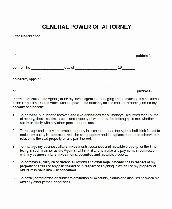 Power Of attorney Example Beautiful 16 Power Of attorney Templates Free Sample Example