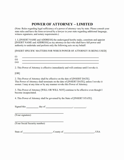 Power Of attorney Example Elegant Limited Power Of attorney form Download Create Fill