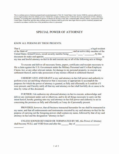 Power Of attorney Example Inspirational Special Power Of attorney form Free Download Create