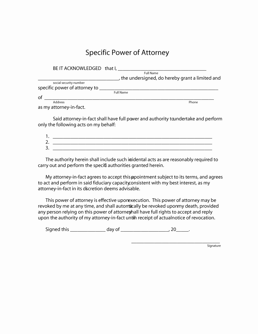 Power Of attorney Example New 50 Free Power Of attorney forms & Templates Durable