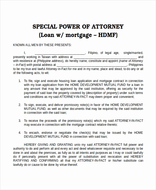 Power Of attorney Example Unique 16 Power Of attorney Templates Free Sample Example