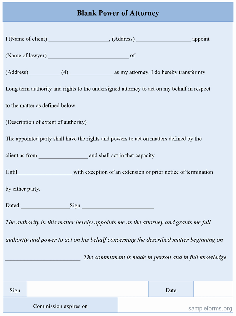 Power Of attorney form Pdf Elegant Blank Power Of attorney form Sample forms