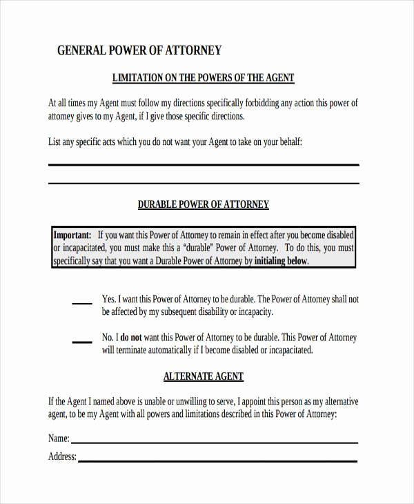 Power Of attorney form Pdf Elegant Power Of attorney forms In Pdf