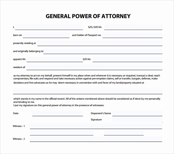 Power Of attorney form Pdf New Sample General Power Of attorney form 6 Download Free