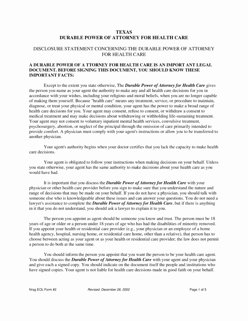 Power Of attorney form Pdf Unique Free Texas Medical Power Of attorney form Pdf