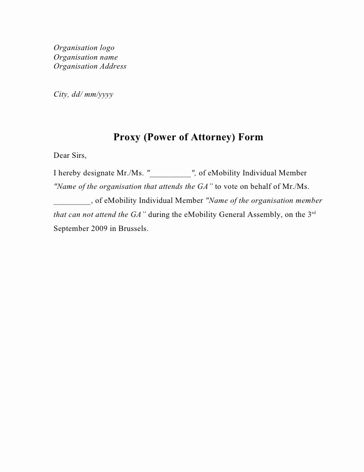 Power Of attorney Letter Fresh Printable Sample Power attorney Letter form