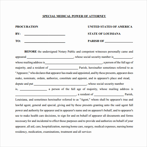 Power Of attorney Pdf Awesome 11 Medical Power Of attorney forms – Samples Examples